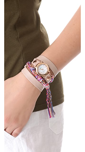 La Mer Collections Fuchsia Friendship Bracelet Watch