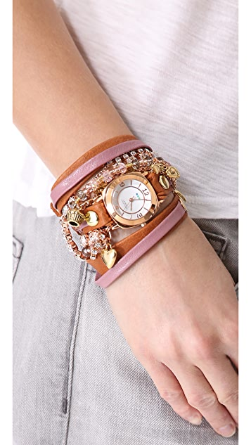 La Mer Collections Champagne Stones Crystal Wrap Watch