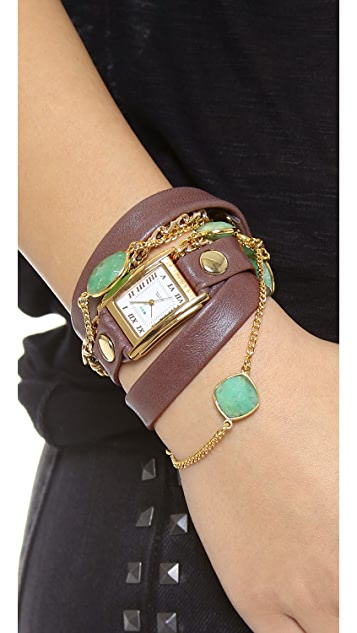 La Mer Collections Stones by the Yard Chrysoprase Wrap Watch