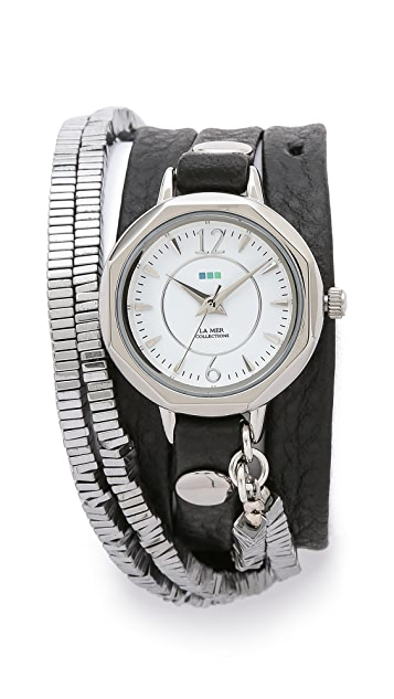 La Mer Collections Highline Chrome Stones Watch