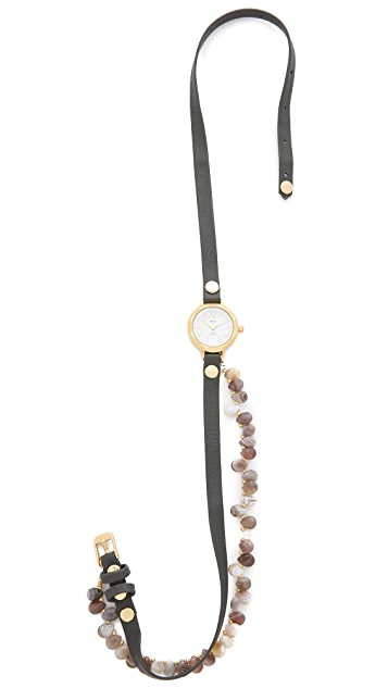 La Mer Collections Santa Barbara Agate Wrap Watch