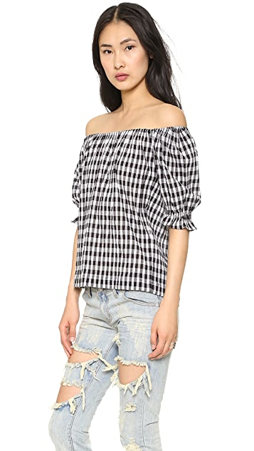 L'AMERICA Check Mate Off the Shoulder Blouse