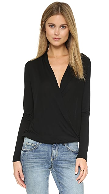 Lanston Surplice Long Sleeve Top