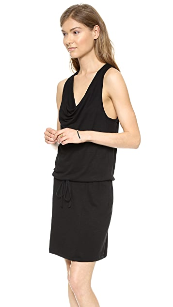 Lanston Drape Mini Dress with Slit