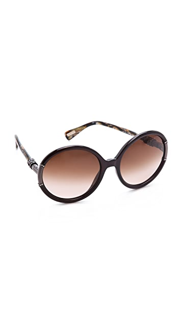 Lanvin Round Sunglasses with Swarovski Crystals