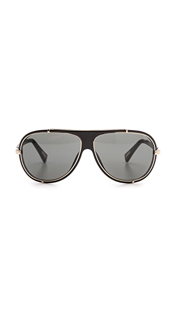 Lanvin Leather Detail Aviator Sunglasses