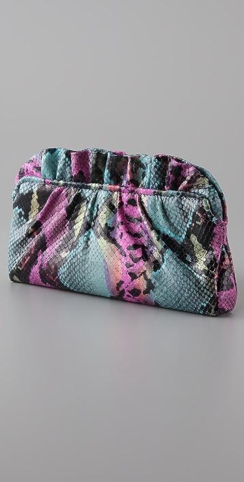 Lauren Merkin Handbags Georgie Painted Snake Clutch