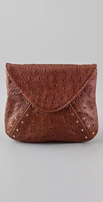Lauren Merkin Handbags Riley Ostrich Embossed Clutch