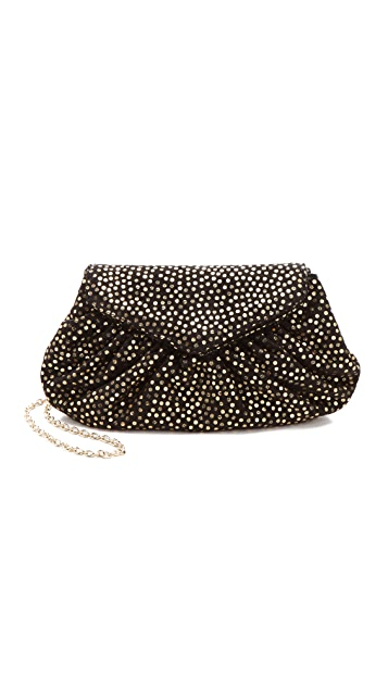Lauren Merkin Handbags Diana Suede Clutch with Metallic Polka Dots