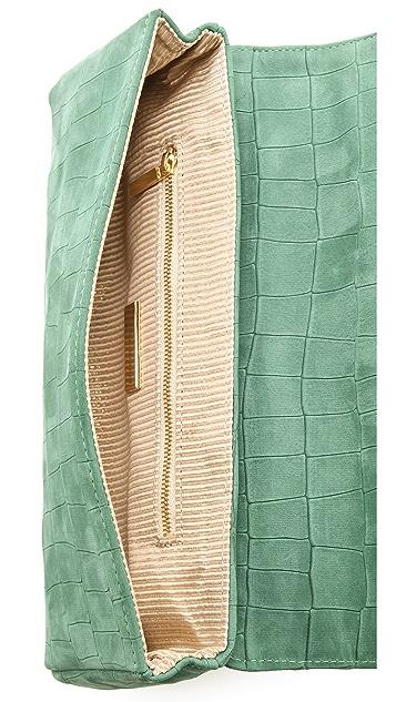 Lauren Merkin Handbags Caroline Croco Suede Clutch
