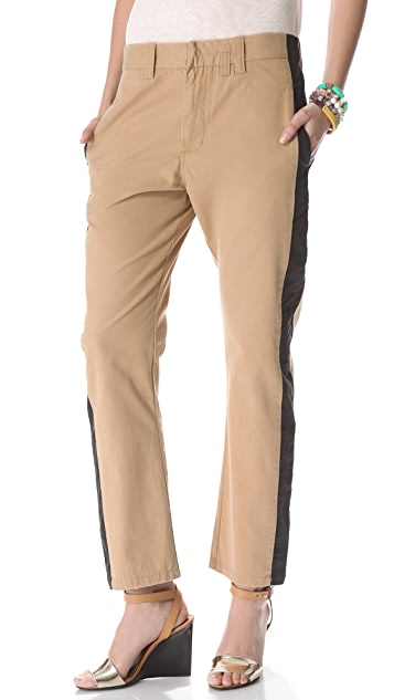 Laurence Dolige Vent Pants with Stripe