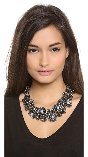 Lee Angel Jewelry Flower & Crystal Necklace