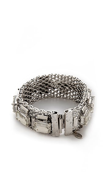 Lee Angel Jewelry Emerald Cut Mesh Chain Bracelet
