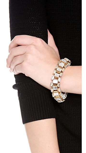 Lee Angel Jewelry Crystal Baguette Box Link Bracelet