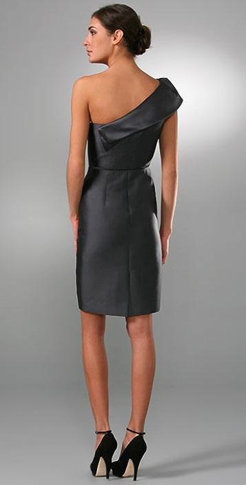 Lela Rose One Shoulder Dress with Folded Neck