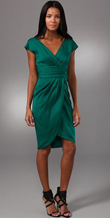 Lela Rose V Neck Dress with Tulip Skirt