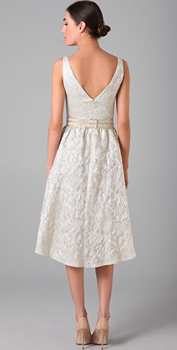 Lela Rose Brocade V Neck Dress with Belt