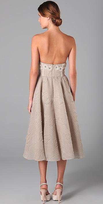 Lela Rose Embroidered Bustier Dress
