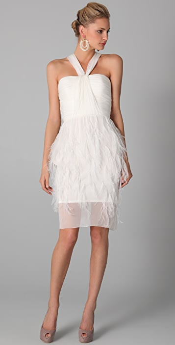 Lela Rose Chiffon Draped Bodice with Emroidered Feather Skirt