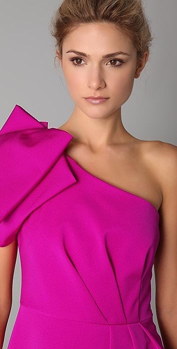 Lela Rose Folded One Shoulder Dress