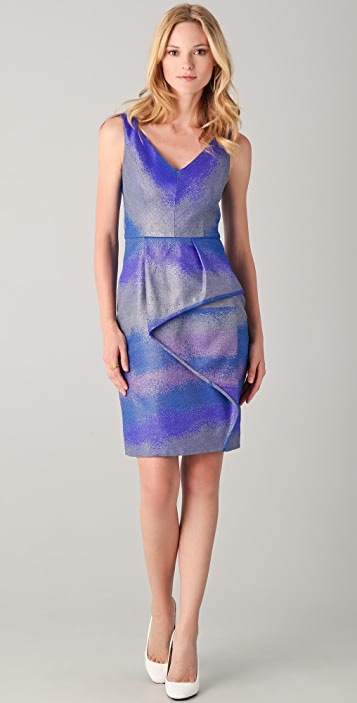 Lela Rose V Neck Dress with Cascade Skirt