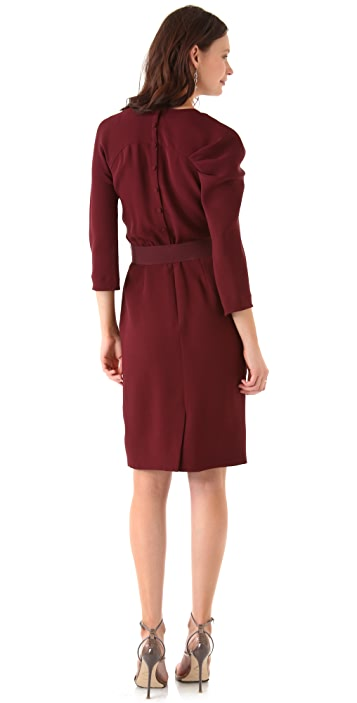 Lela Rose Long Sleeve Cowl Front Dress
