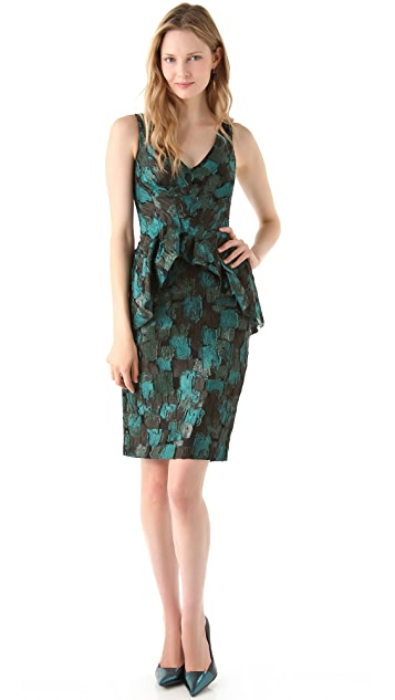 Lela Rose Printed Peplum Dress