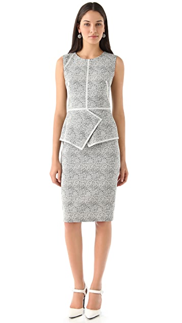 Lela Rose Etched Jaquard Dress