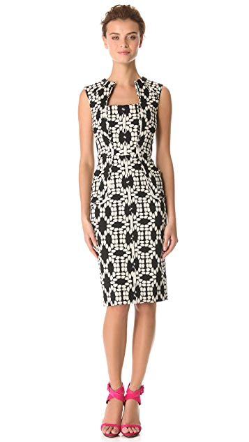 Lela Rose Square Neck Dress