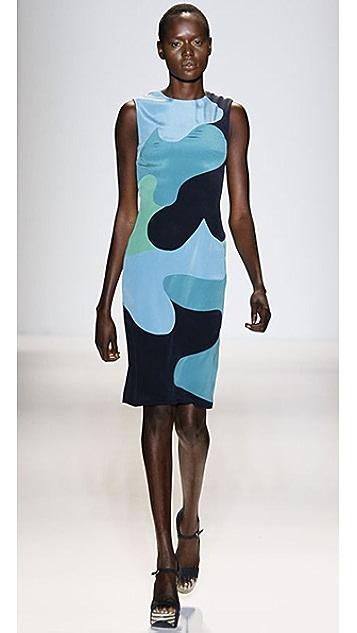 Lela Rose Colorblock Camouflage Dress