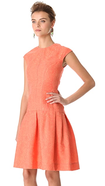 Lela Rose Drop Waist Jacquard Dress