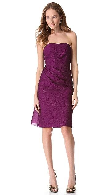 Lela Rose Side Ruched Strapless Dress