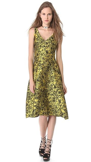 Lela Rose Full Skirt Jacquard Dress