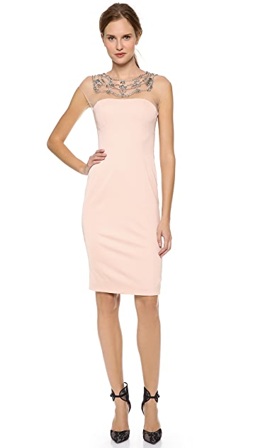 Lela Rose Jeweled Low Back Dress