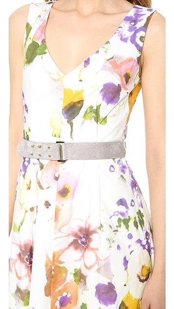 Lela Rose Sleeveless V Neck Dress