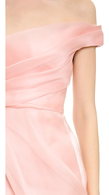 Lela Rose Off Shoulder Draped Dress