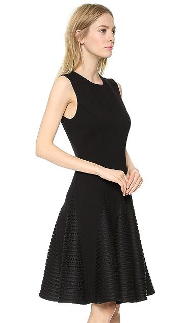 Lela Rose Seamed Dress with Stripe Godets
