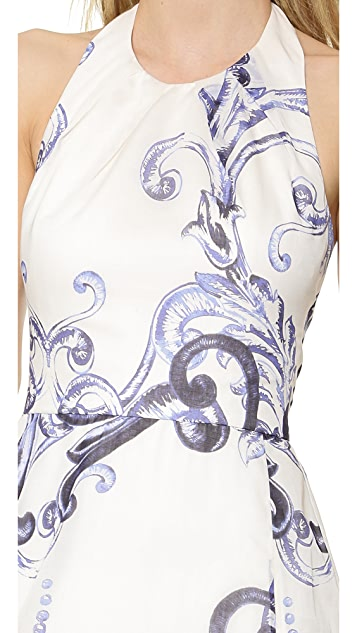 Lela Rose Printed Voile Halter Gown