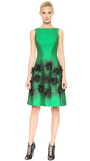 Lela Rose Cocktail Dress with Embroidered Skirt