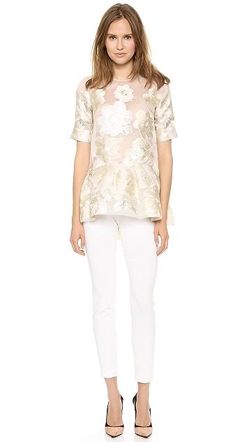 Lela Rose Short Sleeve Blouse with Peplum