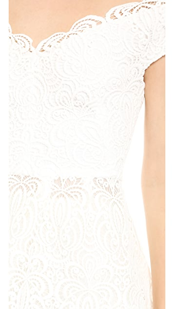 Lela Rose Lace Peplum Top