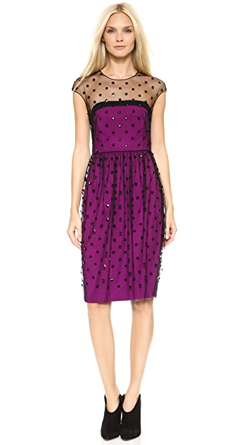 Lela Rose Strapless Dress with Tulle Embroidered Overlay