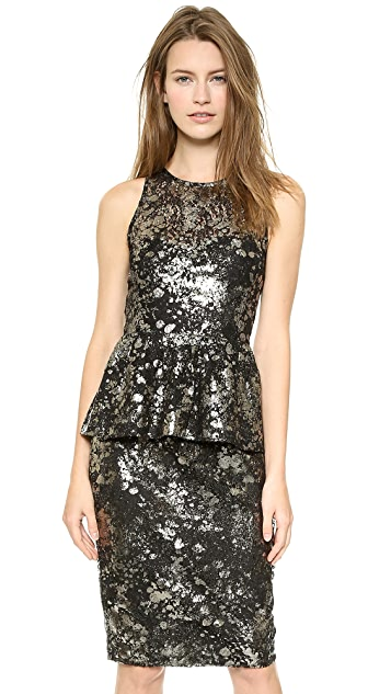 Lela Rose Sleeveless Peplum Top