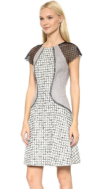 Lela Rose Mixed Fabric Block Dress