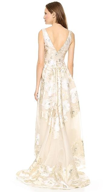 Lela Rose Deep V Neck Gown with Full Skirt