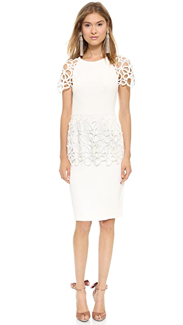 Lela Rose Short Sleeve Peplum Dress