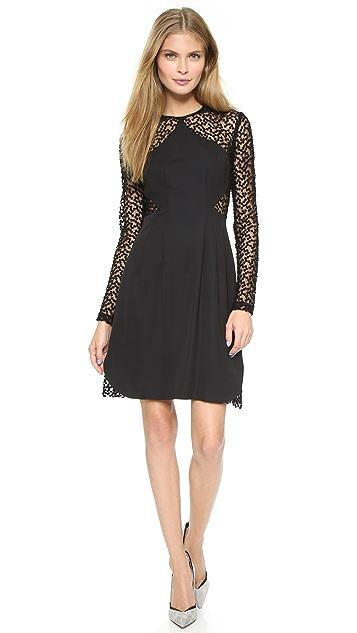 Lela Rose Dot Sheer Panel Dress