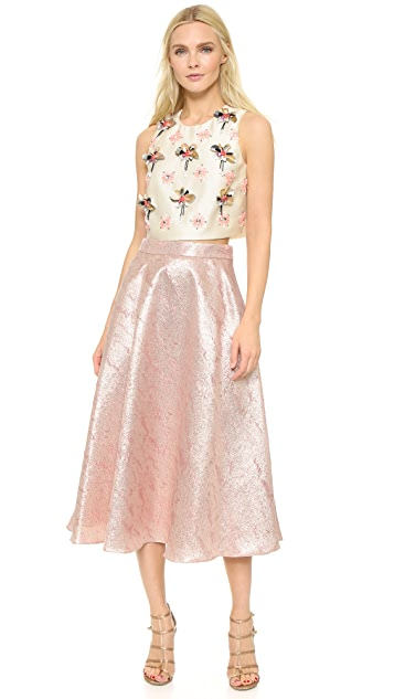 Lela Rose Embroidered Crop Top