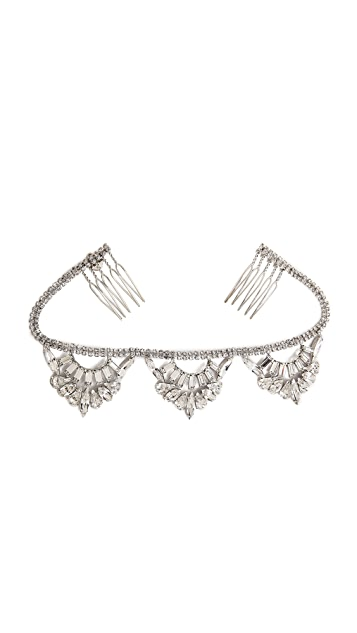 LELET NY Oscar Swarovski Top Knot Halo Headpiece