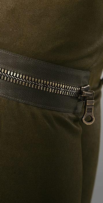 Les Chiffoniers Zip Pocket Wax Leather Leggings